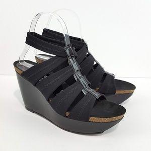 DONALD J PLINER Black Strappy Wedge Sandals 8M